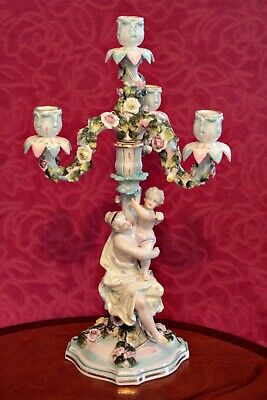 Antique German 'Sitzendorf' Figural Porcelain Candelabra, 19th Century