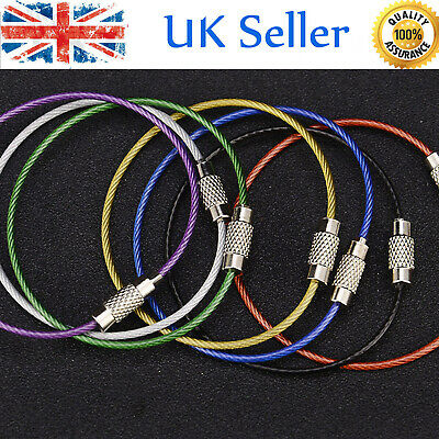 10PCS Stainless Steel Screw Locking Wire Keychain Cable Keyrings Key Holder H5O9