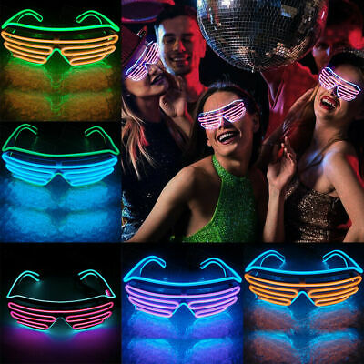 Glow EL Wire LED Glasses Shades Sunglasses Light Up Flashing Rave Festival Party