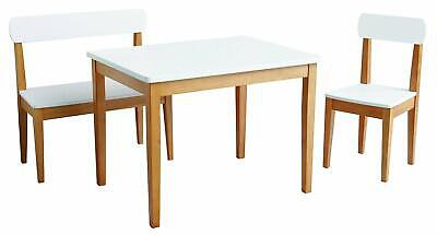 roba Children's 3 Piece Table and Chair Set, White and Oak
