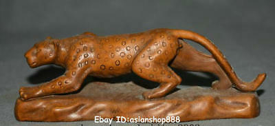"6"" Old Chinese Boxwood Wood Hand Carved Animal Cheetah Panther Leopard Statue"