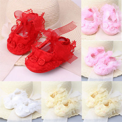 1pair Infant Newborn Baby Girl Princess Non-Slip Baby Shoes Lace Flower Shoes