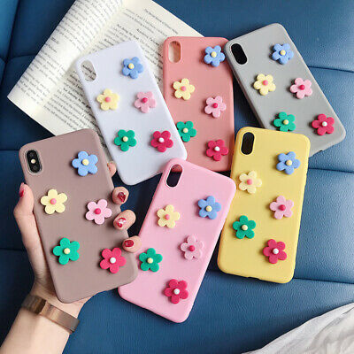 Cute 3D Flower Candy Color Rubber Soft Case Cover For iPhone XS Max XR X 8 6s 7+