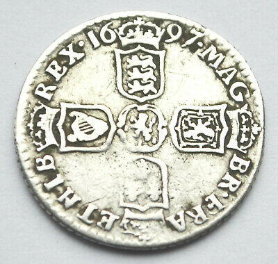 "King William III Silver Sixpence 1697 ""N"" Norwich"