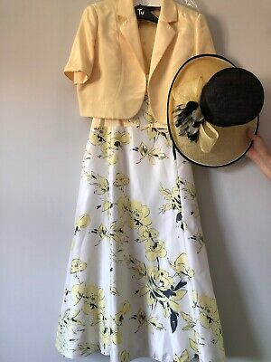 Jacques Vert Size 16 Dress, Bolero & Hat Wedding Outfit