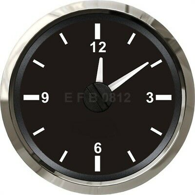 52mm Analogue Clock 12v & 24v  for Boat Truck Car ( Splash proof ) – Black Face