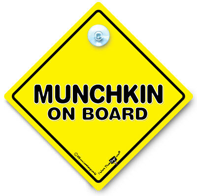Munchkin On Board Car Sign, Funny Car Sign, Baby On Board Sign, Suction Cup Sign