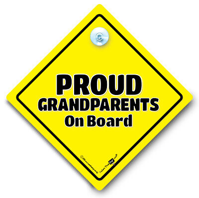 Proud Grandparents On Board Sign, Baby On Board Sign, Suction Cup Car Sign