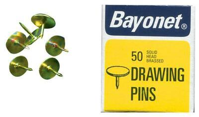 10mm Solid Head Brassed Drawing Pins, 50 Pack - BAYONET 10404