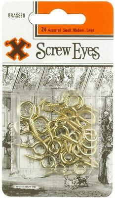 Assorted Brass Plated Screw Eyes, 24 Pack - X 12842