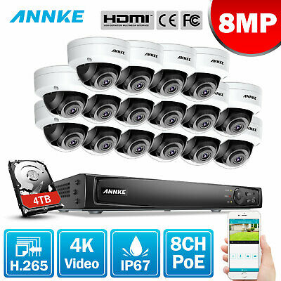 ANNKE 4K 8MP POE 8CH / 16CH NVR H.265 Security IP Camera System Hard Drive Video