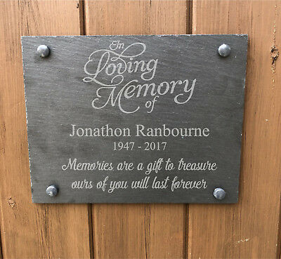 Name Personalised In Loving Memory Slate Memorial Grave Marker Sign Plaque