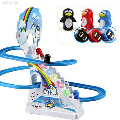 EE07 Climbing Stairs Toys Puzzle Penguin Slide Electric Railcar with Music