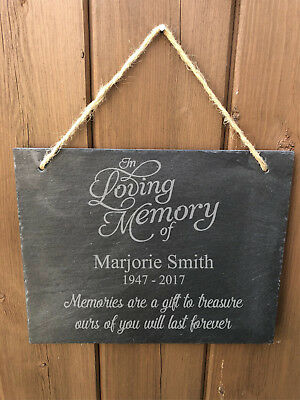 Personalised Hanging Slate Memorial Grave Sign Plaque - Any Name Engraved