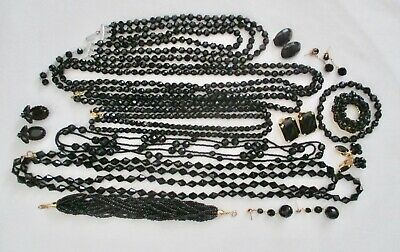 Vintage Lot Of Black Mourning Jewelry-6 Necklaces-6 Pair Of Earrings-1 Bracelet!