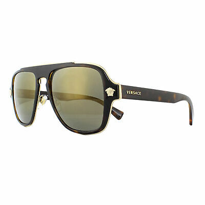 891a682d456e NEW Authentic VERSACE Rock Icons Gold Mirror Aviator Sunglasses VE 2161  1002/F9.