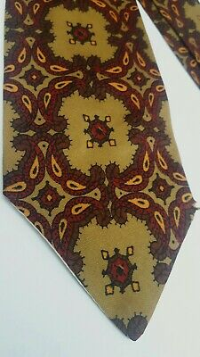 Men's Vintage 60S Sammy Gold Paisley Neck Tie Mr Fish/Dandie Fashions/Tootal