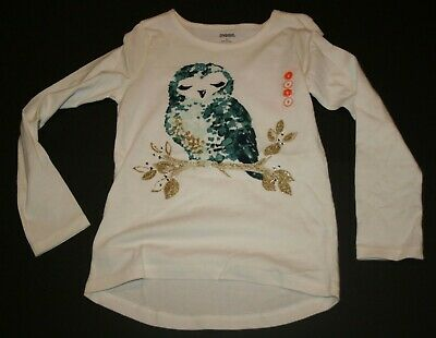 59b5d537 New Gymboree Girls 8 year Owl Glitter Graphic Tee Top Ivory Long Sleeves