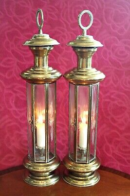 Pair of antique Hexagonal brass candle lanterns with etched glass panels, c 1880