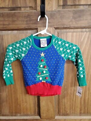 49841f7f1448fe NWT Well Worn Toddler Kids' Ugly Holiday Sweater Christmas Tree 18 months