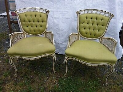 Antique French Provincial Chairs cane sides Shield back Pair