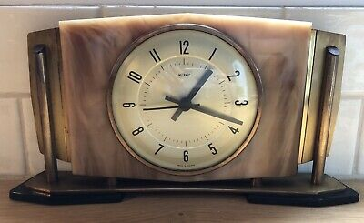 METAMEC VINTAGE MANTEL SHELF CLOCK Faux Marble & Brass Battery Operated Clock