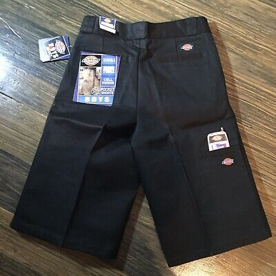 Dickies Boys Black Rigid Twill Durable Shorts Size 12H Cell Phone Pocket HUSKY