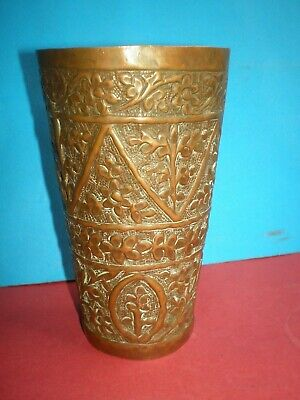 Unique handmade copper cup decorated with Arabian motifs, probably in 18-19th c.
