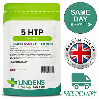 5-HTP 100mg 60 Tablets Depression, Anxiety, Insomnia, Lindens 5HTP