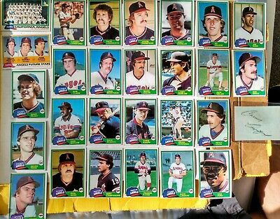 Topps 1981 California Angels 27 card lot, w/Lansford auto
