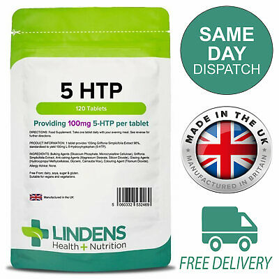 5-HTP 100mg 120 Tablets Depression, Anxiety, Insomnia, Lindens 5HTP