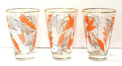Set of 3 - Vintage Gold Rimmed, Stylized Leaves Glass Tumblers