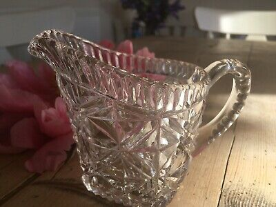 vintage small cut glass creamer sauce milk jug weddings gifts display