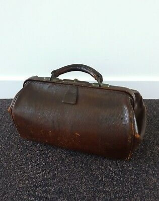 Vintage Doctor's Bag with Monogram c.1950s Brown Leather Gladstone Briefcase