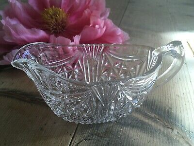 vintage small cut glass creamer sauce milk jug boat weddings gifts display