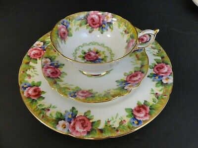 Paragon Tapestry Rose Cup Saucer Double Warrant - Plate Single Stamp Vintage