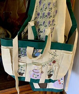 New Hand Painted Garden Apron With Matching Tool Tote Detailed And Gorgeous