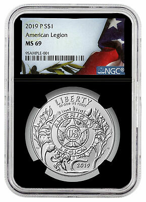 2019 P American Legion 100th Silver Dollar NGC MS69 Black Liberty Flag SKU58196