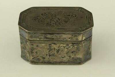 Antique Silverplate on Brass Chinese Hand Engraved Floral Metalware Pill Box