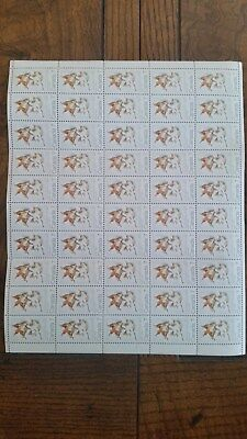 Canadian stamps full sheet of 50 MNH, Maple Leaves - Winter, #538, Multicoloured