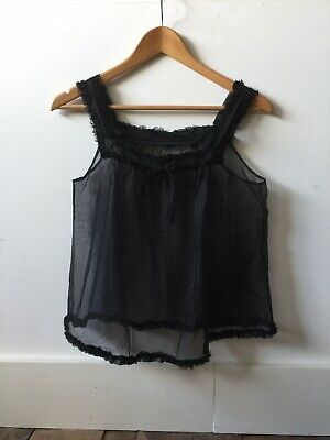 Vintage 60s Babydoll Lingerie Camisole Tops Sheer Black Nylon Lace Loose Fit #2
