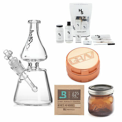 GRAV Helix Beaker Water Pipe with 3-Piece Grinder (Rose Gold) Bundle