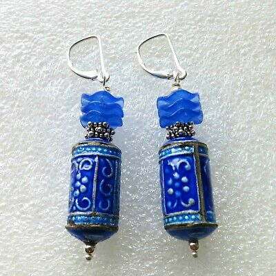 Vintage Chinese Sterling Silver Royal Blue Cloisonne Botanical Earrings