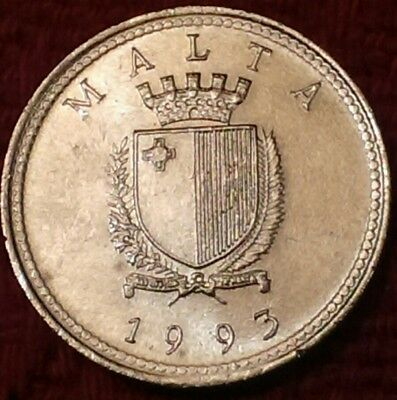 *1993 Maltese 2c coin Repubblika ta' Malta Olive branch & Coat of Arms two cents