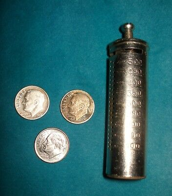 2 Roosevelt 1956/57 Dimes/ A Be Thrifty Save A Dime Metal Tube Coin Holder Bank