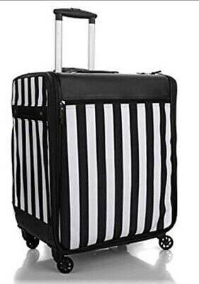 Debbee Flip 'N Pack Expandable Rolling Craft Storage Case Black White Stripe NWT