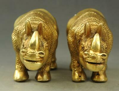 A pair Chinese old fengshui copper hand engraving  rhinoceros Rhino statue