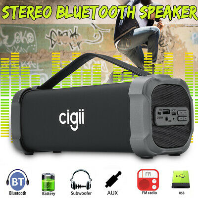 CIGII Wireless Bluetooth Speaker Bass Stereo Subwoofer SD FM Radio AUX 3 Types