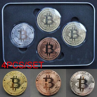 4Pcs Bitcoin Commemorative Round Collectors Coin Bit Coin is Gold Plated Coins