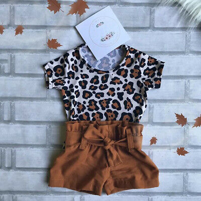 AU Summer Toddler Kid Baby Girl Clothes Leopard Tops T-shirt+Shorts 2PCS Outfit